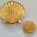"""Gold Scallop Shells"" Hand Carved in Sugar Pine23K Gold Leaf 2"" x 10"" x 10.5"" -- $420.00 1"" x 6"" x 6""--$200.00"