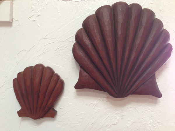"""Scallop Shells"" - Hand carved in MahoganyTung Oiled1"" x 6"" x 10.5"" -- $175.002"" x 10"" x 10.5"" -- $385.00"